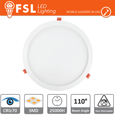 Downlight LED IP20 24W 6500K 2000LM 110° FORO:285mm